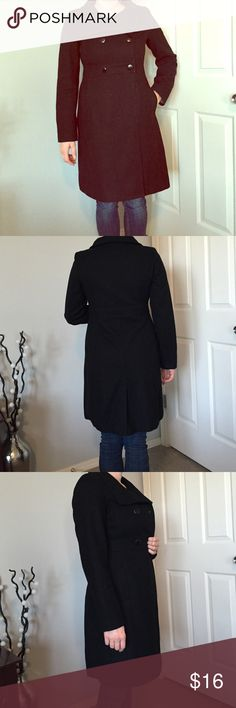 Black pea coat Pretty good condition no known blemishes other than it need a good run with the lint roller! Open to all offers! Old Navy Jackets & Coats Pea Coats