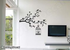 Vinyl Wall Decal Nature Design Tree Wall Decals Wall stickers - Maple tree branch and birds with bird antique cage. $48.00, via Etsy.