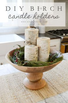 DIY Birch Candle Holders | Learn how to make these simple, inexpensive, and lovely birch candle holders from @Nina Hendrick Design Co.!