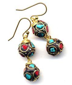 Nepali Earrings Nepali Coral Turquoise Earrings by Annaart72, $36.00