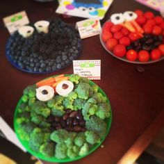 Sesame Street birthday party! Elmo, Cookie Monster, and Oscar the Grouch fruit and veggie platters