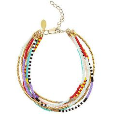 As bright as any of the garments you'd hope to find at beach-friendly Calypso St. Barth, a duo of beaded Shashi bracelets ($125) would be perfect for a day at the beach. via StyleList