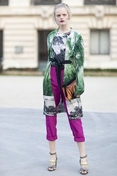 electric plum pants. prints.  (angry face) Hanne Gaby Odiele (from PFW Street Style)