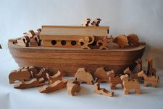 Noah's Ark Toy Box with the Beasts of the Forest. $295.00, via Etsy.