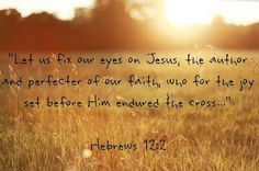 Let us run with perseverance the race marked out for us, fixing our eyes on Jesus, the author & perfecter of our Faith. For the Joy set before Him He endured the cross, scorning its shame, & sat down at the right hand of the throne of God. Hebrews 12:2