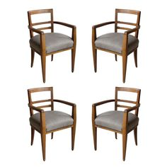 Set of Four French Art Deco Dining Room Chairs | From a unique collection of antique and modern dining room chairs at https://www.1stdibs.com/furniture/seating/dining-room-chairs/