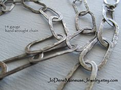 Hand forged large link sterling silver by JoDeneMoneuseJewelry