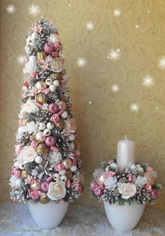 In this DIY tutorial, we will show you how to make Christmas decorations for your home. The video consists of 23 Christmas craft ideas. Victorian Christmas Tree, Shabby Chic Christmas, Pink Christmas, Christmas Home, Christmas Holidays, Christmas Wreaths, Outdoor Christmas, Xmas Tree, Merry Christmas