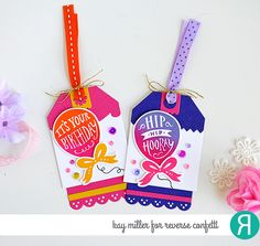 DIY gift Tags by Kay Miller. Reverse Confetti stamp set: Boxes 'n Balloons. Confetti Cuts: Boxes 'n Balloons, Thanks Tag, Topped Off Tag, and Top o' the Tag. Birthday tags. Celebration tag. Congratulations card.