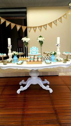 Little Wish Parties | Blue, White and Gold Baby Shower | https://littlewishparties.com