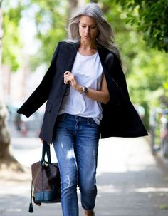 Sarah Harris proves that blue jeans, a white tee, and a black blazer is still the chicest (and easiest) outfit formula to adhere to.