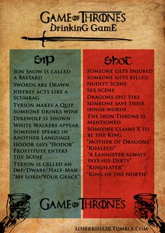 Game of Thrones Drinking Game - Doesn't say if it is for the show or books.  Either way you're getting wasted.