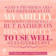"""God's promises are not dependent on my ability to always choose well, but rather on His ability to use well."" - Lysa TerKeurst // If fear of making the wrong decision paralyzes you, Lysa offers a refreshing perspective in her devotion today. CLICK to read more."