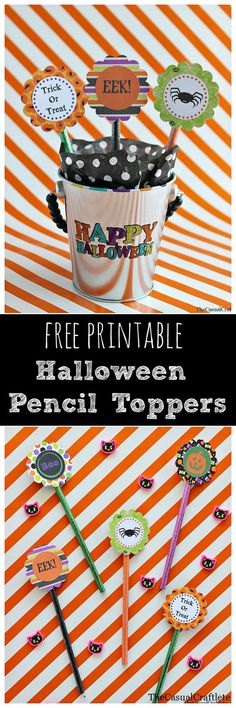 Free Printable Halloween Pencil Topper by TheCasualCraftlete.com