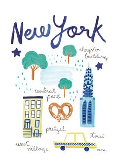 New York acrylic illustration for baby textile project #illustration #city…