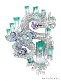 Vintage VanCleaf & Arpels Diamond, Aquamarine And Sapphire Dragon Brooch