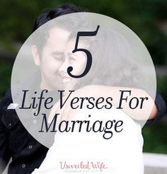 5 Encouraging Life Verses For Marriage --- Life verses are passages of scripture found in the Bible that capture our attention and feed our soul. The are so comforting, they almost seem tangible. God's Words are so powerful! Our church has been covering a sermon series on life verses. We have ha… Read More Here http://unveiledwife.com/5-encouraging-life-verses-for-marriage/ #marriage #love