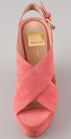 "Dolce Vita suede wedge in ""melon"".I love Dolce Vita! Cute Shoes, Me Too Shoes, Red Shoes, Fashion Shoes, Girl Fashion, Shoe Boots, High Heels, Pumps, Bags"