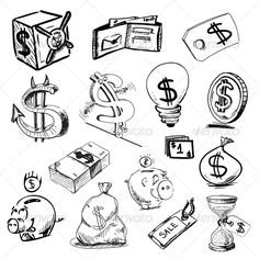 Finance and money icons collection. Hand drawing sketch vector illustration Finance and money icons Tattoo Design Drawings, Tattoo Sketches, Drawing Sketches, Tattoo Designs, Hand Drawings, Graffiti Lettering Fonts, Graffiti Alphabet, Graffiti Words, Money Sign Tattoo
