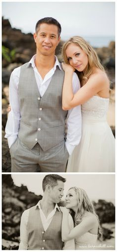 handsome grey vest suit for groom wedding day, beach wedding by Simple Maui Wedding