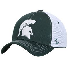 """Color: Team Color Material: Polyester Front Stitching: Raised Embroidery Side Stitching: Zephyr """"Z"""" logo on left side Back Stitching: Team logo Size: Zfit; Michigan State University, Michigan State Spartans, Curves Workout, Rally, Hats, Green, Fitness, Sports, Hs Sports"""