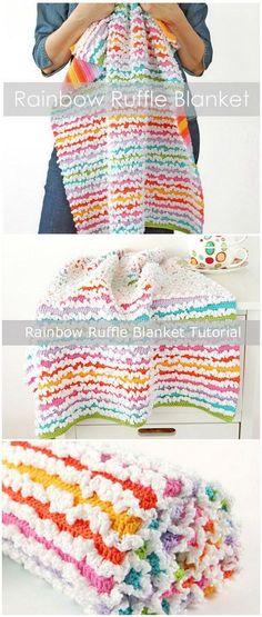 Rainbow Spring Ruffle Blanket.