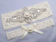 Ivory Bridal Garter Set Crystal Rhinestone by LoveForeverBridal, $24.95