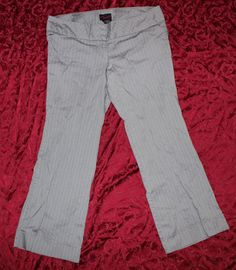 67cc666f2b1 Torrid 18 Gray w  White Pinstripe Flat Front Dress Pants 40 x 30 Cuffed  Bottoms