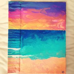 Crayon art sunset beach scene. Made by me!!