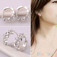 Fashion Women Silver Flower Plated Crystal Rhinestone Stud Earrings Hoop Jewelry 2017 flower stud earrings - Fashiondivaly | Fashiondivaly