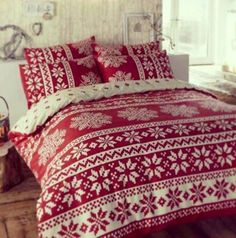 fair isle bed- love this red!
