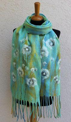 Nuno Felted scarf spring scarf felted shawl felt scarf wool