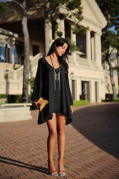 V-Neck Split Long Sleeve Chiffon Loose Short Dress