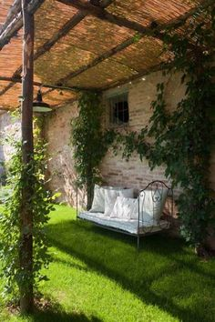 Daybed under a shady arbor