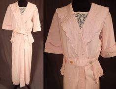 Edwardian Pink Cotton Pique Embroidered Peplum Dress Tea Gown  This vintage Titanic Edwardian era pink cotton pique embroidered peplum dress tea gown dates from 1912. It is made of a pale pink pastel color cotton pique textured twilled corded fabric, with pink raised padded satin stitch embroidery work flowers and decorative scalloped edging.