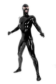 Full Body lycra zentai costume metallic black back zip S-XXL