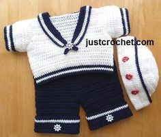 When you have a baby boy, I swear it will take all that is in me to control myself from this. Sailor Suit Baby Crochet Pattern by designer justcrochet. Crochet Toddler, Crochet Baby Clothes, Crochet For Boys, Boy Crochet Patterns, Baby Patterns, Baby Overall, Baby Sweaters, Baby Dress, Baby Knitting