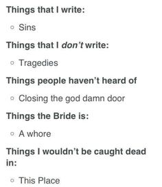 how to play i write sins not tragedies