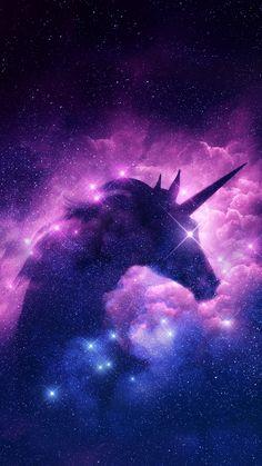 Unicorn in the sparkling purple stars