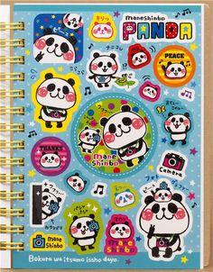green panda bear sticker album book with camera dots