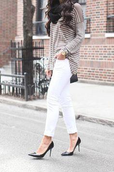 white denim / neutral striped top / black heels + scarf + bag