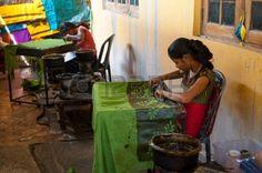 KANDY, SRI LANKA - MARCH 31: Two Women, Traditional Batik Painter ...