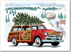 Vintage Woodie Car Christmas Card Features A Wagon Classic
