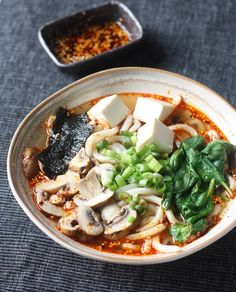 Miso Udon Noodle Soup with Spicy Korean Chili Dressing by SeasonWithSpice.com