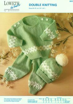 Genuine Vintage LOWETH 643 'Babys Gorgeous 'Mint-Green' Jumper Leggings and Bobble Hat' Set of 3 Knitting Pattern Intarsia Patterns, Baby Knitting Patterns, Baby Patterns, Crochet Patterns, Double Knitting, Hand Knitting, Baby Fair, Pram Sets, Toddler Leggings