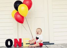 24 Super Ideas For Baby Boy Birthday Photoshoot Mickey Mouse Mickey 1st Birthdays, Mickey Mouse First Birthday, Mickey Mouse Clubhouse Birthday Party, Baby Boy 1st Birthday, Mickey Party, Happy Birthday, 1st Birthday Pictures, Birthday Ideas, Foto Baby