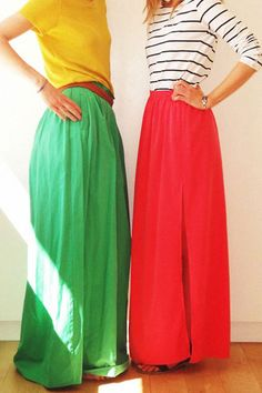 bright maxi skirts with simple tees.