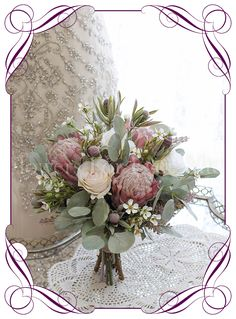Wedding Flower Arrangements High quality realistic silk artificial bridal wedding bouquet with pink protea, blush ivory roses and Australian Native gum leaves and flowers. Made in Melbourne Australia, shipped world wide. Bouquet De Protea, Diy Bouquet Mariage, Protea Wedding, Silk Wedding Bouquets, Flower Bouquet Wedding, Floral Wedding, Flower Bouquets, Wedding
