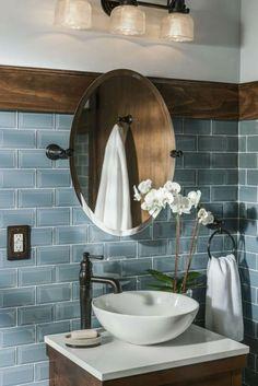 Badezimmer ♡ Wohnklamotte Tile design bathroom blue wall tiles, round mirror, white flowers as decor Bathroom Interior Design, Rustic Bathroom Designs, Home Tiles Design, Tile Design, Bathroom Tile Diy, Bathroom Wall Decor, Blue Bathroom, Simple Bathroom, Bathroom Tile Designs