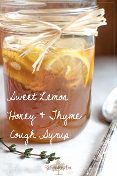 Homemade Medicine Made Simple: Sweet Lemon Honey & Thyme Cough Syrup Recipe Homemade Sweet Lemon Honey Thyme Cough Syrup is a wonderful cough medicine to help you or your kids stop coughing the next time you come down with a cold. Natural Health Remedies, Natural Cures, Herbal Remedies, Natural Foods, Natural Healing, Natural Treatments, Holistic Healing, Natural Beauty, Natural Things